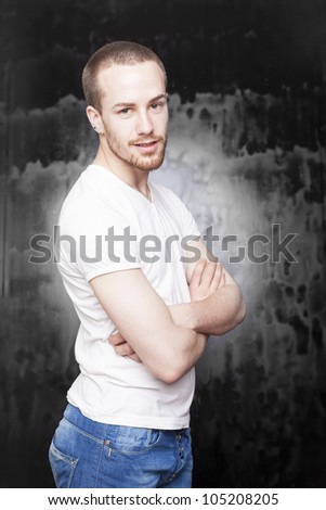 Good Looking Man in white shirt and jeans