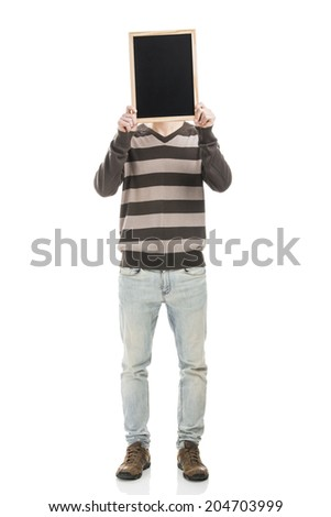 Good looking young man holding a chalkboard - stock photo