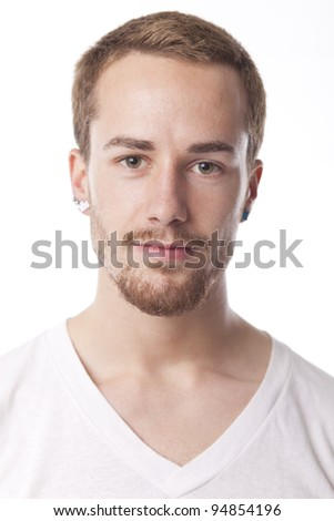 Good Looking Young Man Portrait on white - stock photo