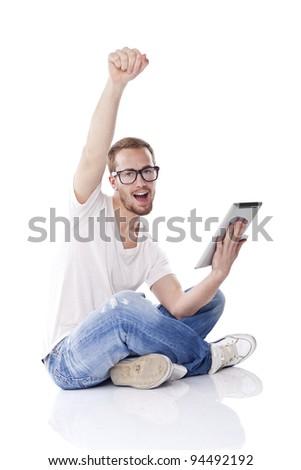 Good Looking Young Nerd Smart Guy Man Using Tablet Computer - stock photo