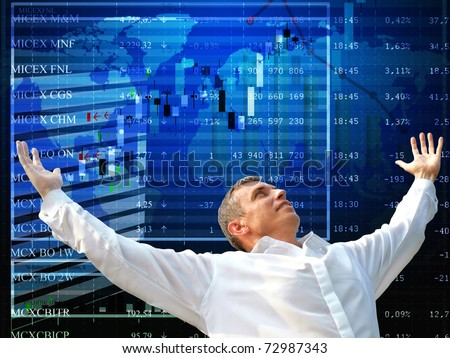 Good luck at the financial auctions causes in the businessman of emotion of happiness - stock photo