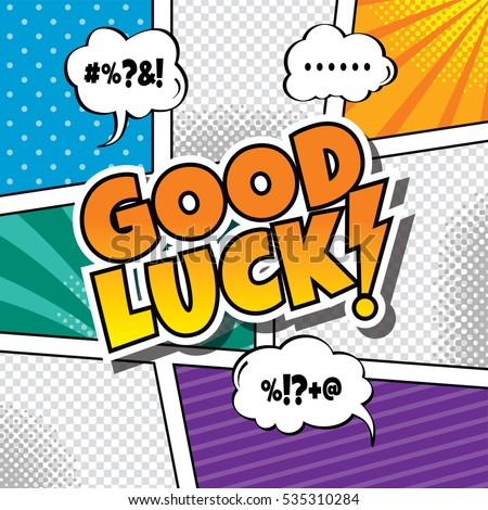 Good Luck Cartoon Comic Book Template Stock Illustration