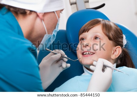 good mood in the dental office - stock photo