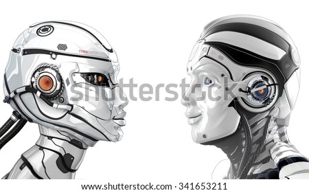 Good mood male robot and female bot looking to each other. Side view closeup portrait. White background for your design. Artificial face of cybernetic couple creatures. - stock photo