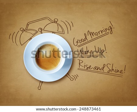 Good morning coffee and alarm clock concept  - stock photo
