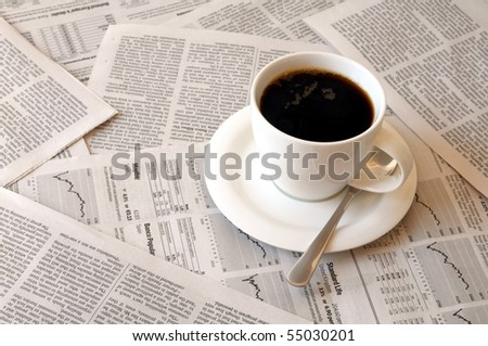 good morning coffee break with reading the newspaper