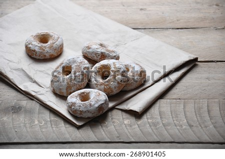 Good morning or Have a nice day Merry Christmas message concept -gingerbread white chocolate cookies - stock photo