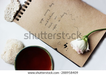 Good morning or Notes, Time management, Creative background, a Tea cup, Morning tea, Yoga and meditation, Healthy lifestyle - stock photo