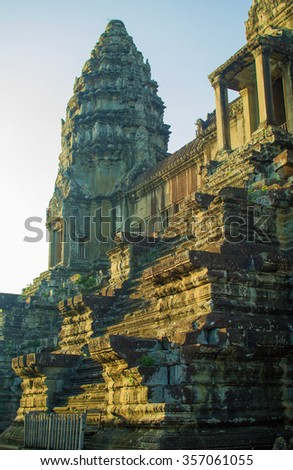 good morning sunrise in Angkor Wat, one of the biggest buddhist temple complexes on earth, located in Siem Reap, Cambodia, South East Asia - stock photo