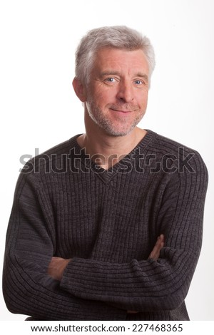 Good-natured and vibrant mature man Isolated on white background