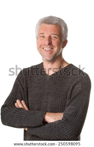 Good-natured and vibrant mature man Isolated white background - stock photo