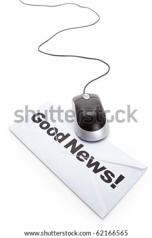 Good News and computer mouse, concept of email