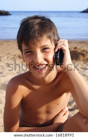 Good news and happy face at the phone - stock photo