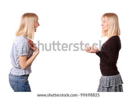 Good news/Double portrait of woman gesturing and discussing with herself