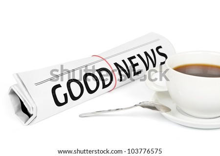 Good news message on work place - stock photo