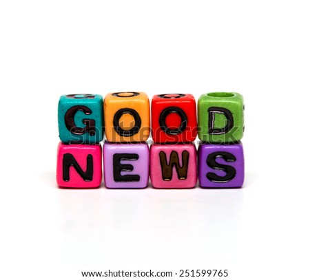 good news - word made from multicolored child toy cubes with letters  - stock photo