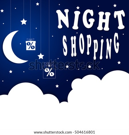 Good Night Shopping. Night Sky Paper Clouds, Stars, Moon on String. Sale, Discount. Black Friday. Image.