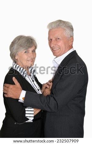 Good old couple on a white background