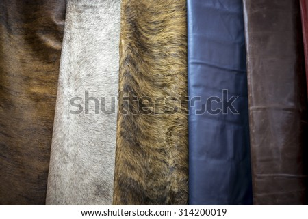 good quality leather in various colors, vintage color tone - stock photo