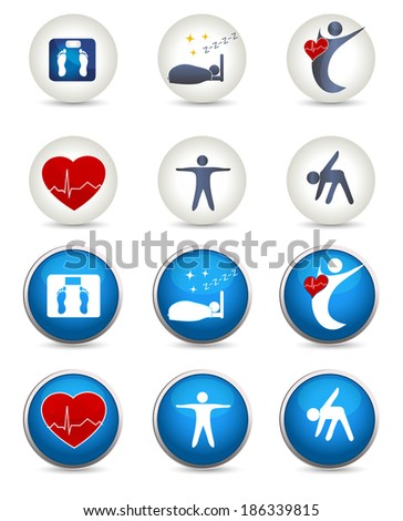 Good sleep, fitness and other Healthy living icons. Two styles white and blue. Fitness, healthy weight, good sleep leads to healthy heart and life. - stock photo