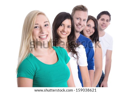 Good team work - happy trainees in a row isolated on white background - young men and woman - stock photo