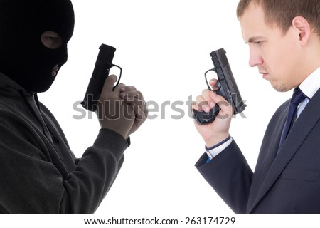 good vs evil concept - terrorist and police man with guns isolated on white background - stock photo