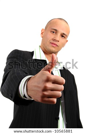 Good Young business man reaching out his hand for a thumb up. Isolated over white.