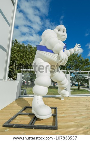 GOODWOOD, UK - JULY 1: Bibendum, more commonly known as the Michelin Man - advertising symbol of the Michelin motor company, on display at Goodwood, UK on July 1, 2012