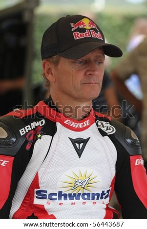 GOODWOOD, UK - JULY 3: Kevin Schwantz, 1993 500cc Motorcycle World Champion in the Paddock at Goodwood Festival Of Speed  July 3, 2010 in Goodwood, UK.