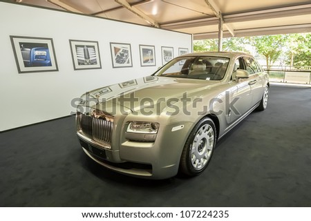 GOODWOOD, UK - JULY 1: Luxury Rolls Royce Ghost on display at the Festival of Speed motor sport event held at Goodwood, UK on July 1, 2012