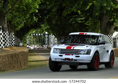 GOODWOOD, UNITED KINGDOM - JULY 3: Bowler Range Rover drives up the hill at the Goodwood Festival of Speed in the United Kingdom on July 3, 2010 in Goodwood, UK - stock photo