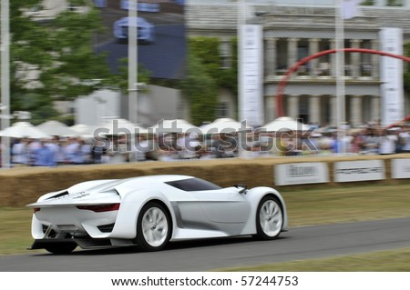 GOODWOOD, UNITED KINGDOM - JULY 3: citroen GT Concept Car drives up the hill at the Goodwood Festival of Speed in the United Kingdom on July 3, 2010 in Goodwood, UK - stock photo