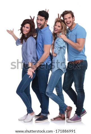 goofy casual group of young people inviting you to the fun on white background
