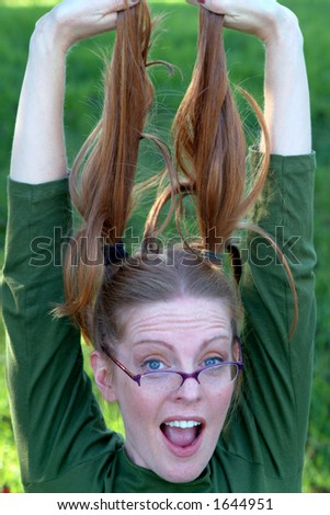 goofy girl - stock photo
