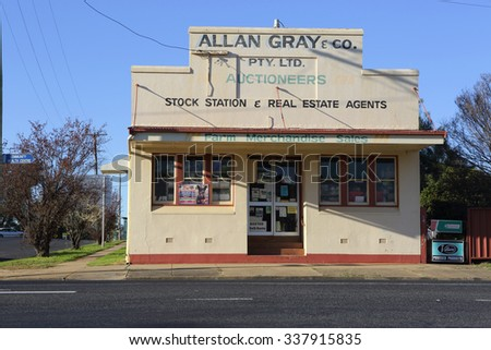 GOOLOOGONG, AUSTRALIA - SEPTEMBER 19, 2015;  One of the unique old buildings to be found in the outback township of Gooloogong. stock station and real estate agent and auctioneer - stock photo