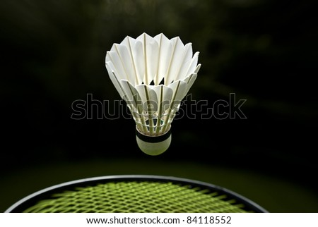 Goose feather badminton shuttlecock and racket - stock photo