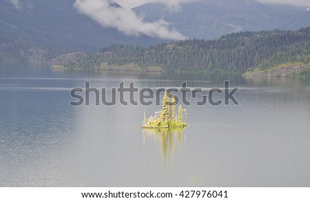 Goose Island at Glacier National Park - stock photo