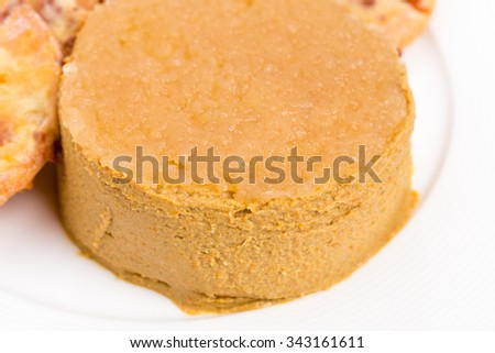 Goose liver pate and cheese scones. Macro. Photo can be used as a whole background. - stock photo