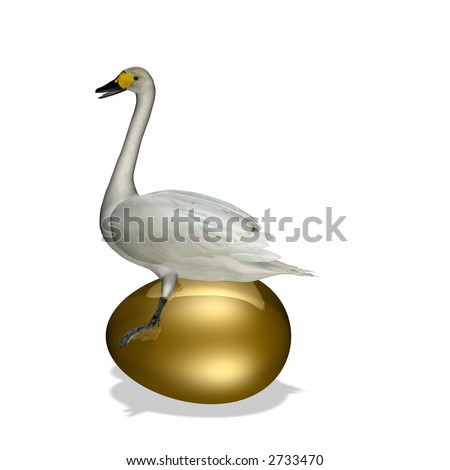 Goose sitting on a very large golden egg with reflection. - stock photo