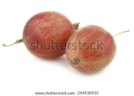 gooseberries (Ribes uva-crispa) on a white background - stock photo