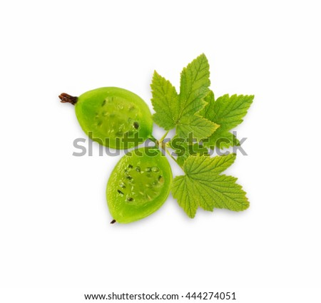 Gooseberry fruit. Ripe and tasty berry isolated on white background. Green gooseberry. Two sliced gooseberry. Top view. - stock photo
