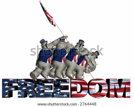 GOP - Raising the Flag of Freedom Represented by a group of Republican political Elephants. Isolated on a white background. - stock photo