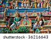 Gopuram (tower) of Hindu temple  Kapaleeshwarar., Chennai, Tamil Nadu, India - stock photo