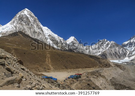 Gorak Shep village, Kala Patthar and mount Pumo Ri. Way to Everest base camp. Nepal - stock photo