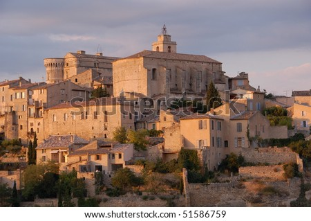 Gordes hilltop at sunset, Provence, France