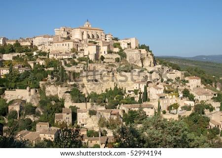Gordes , medieval hilltop village in Provence - stock photo