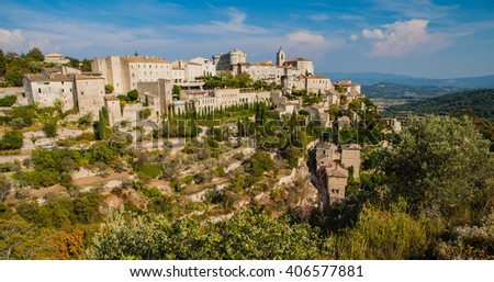Gordes, the wealthy hilltop town of Provence, France - stock photo