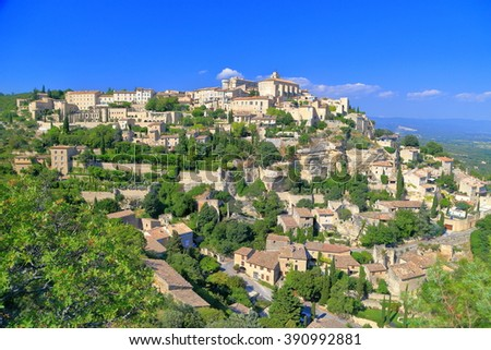 Gordes village with historical buildings seen from above, Provence-Alpes-Cote d'Azur, France