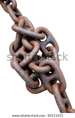 Gordian knot. Old and rusty anchor chain. Isolated on white - stock photo