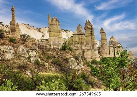 Goreme open air museum, Cappadocia, Turkey.Volcanic rock landscape, Love valley - stock photo